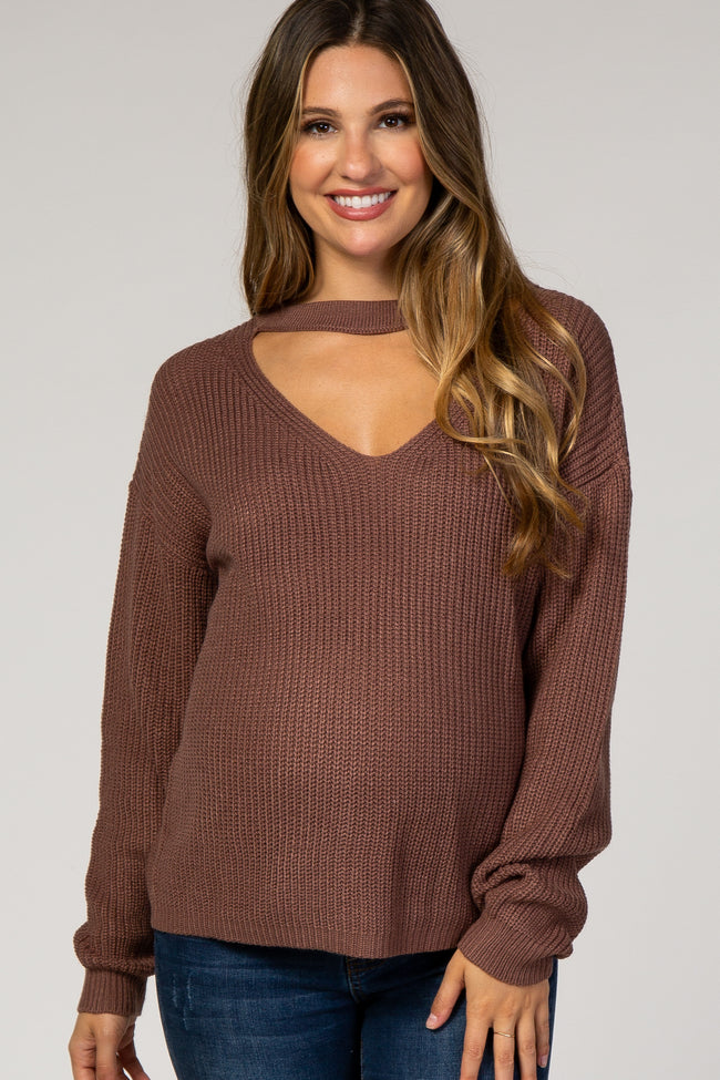 Mauve Knit Cutout Front Maternity Sweater