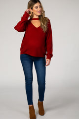 Red Knit Cutout Front Maternity Sweater