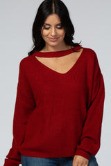 Red Knit Cutout Front Sweater