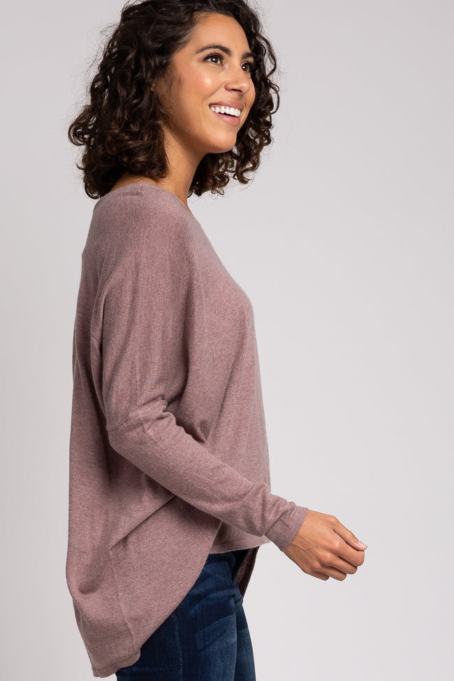 Mauve Heathered V-Neck Soft Knit Top