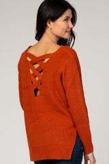 Rust Knit Crisscross Back Maternity Sweater