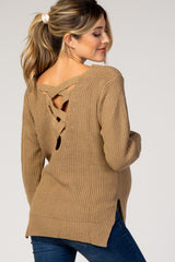Taupe Knit Crisscross Back Maternity Sweater