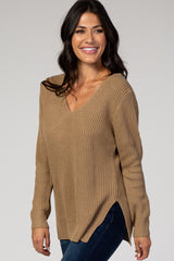 Taupe Knit Crisscross Back Sweater