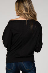 Black Knit Wide Neck Top