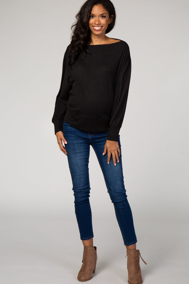 Black Knit Wide Neck Maternity Top