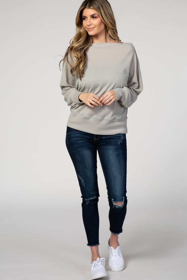 Heather Grey Knit Wide Neck Top