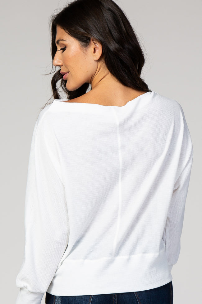 White Knit Wide Neck Top