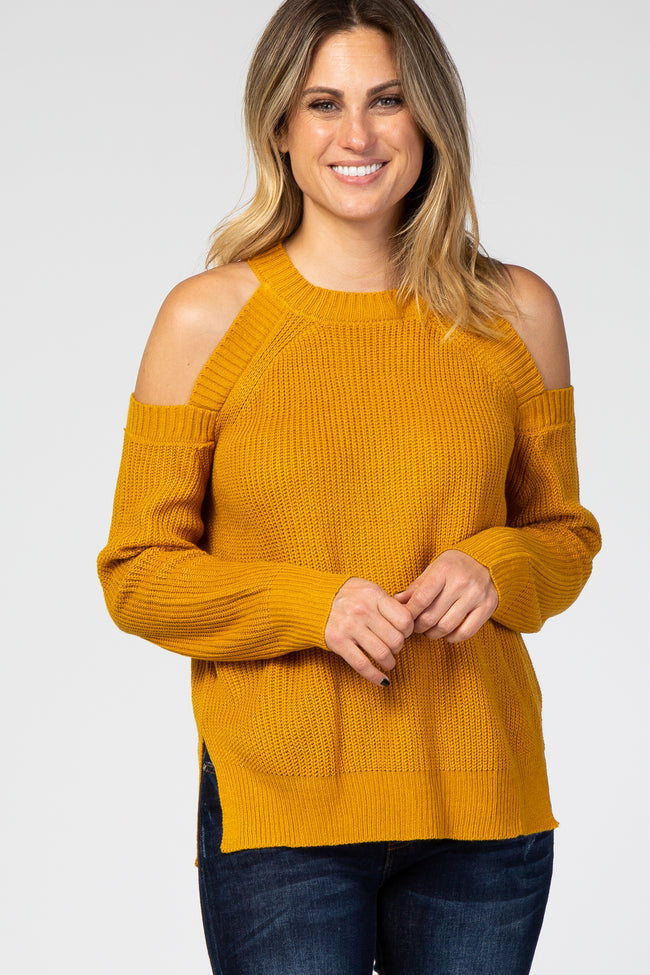 Yellow Cold Shoulder Maternity Sweater