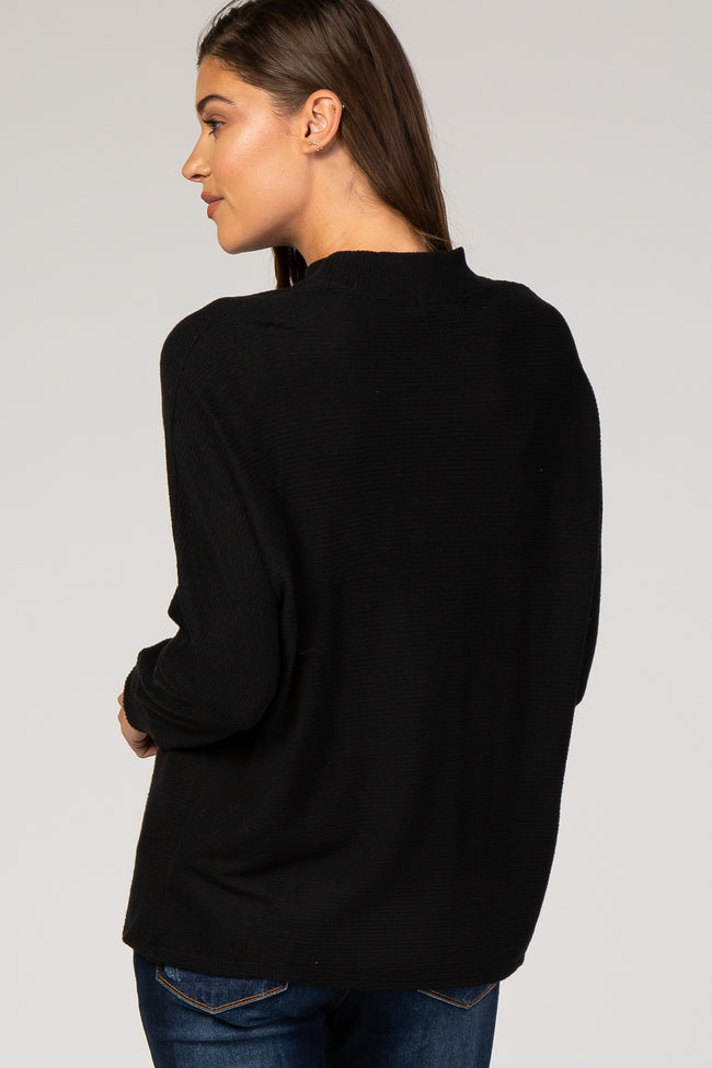 Black Ribbed Mock Neck Top
