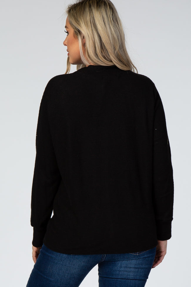 Black Ribbed Mock Neck Maternity Top