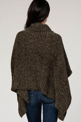 Olive Chenille Cowl Neck Knit Poncho