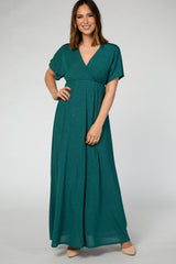 Green Metallic Wrap Maxi Dress