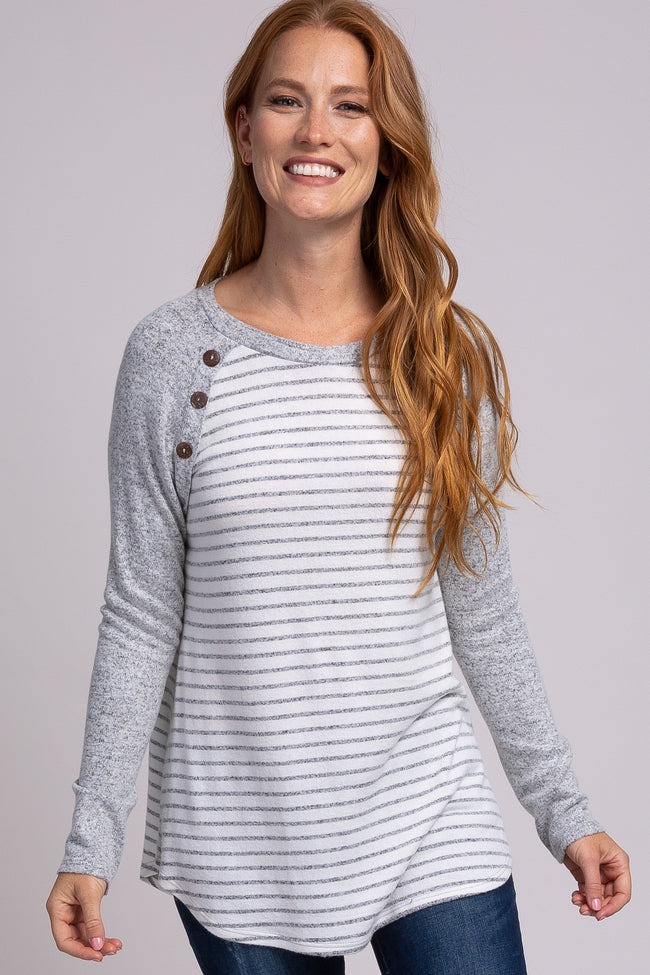 Grey Soft Brushed Striped Colorblock Button Accent Maternity Top