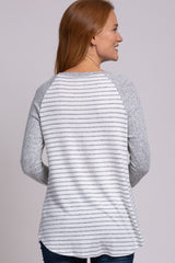 Grey Soft Brushed Striped Colorblock Button Accent Top