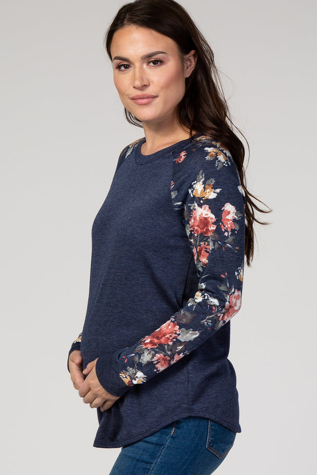 Navy Blue Colorblock Floral Maternity Top