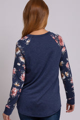 Navy Blue Colorblock Floral Top