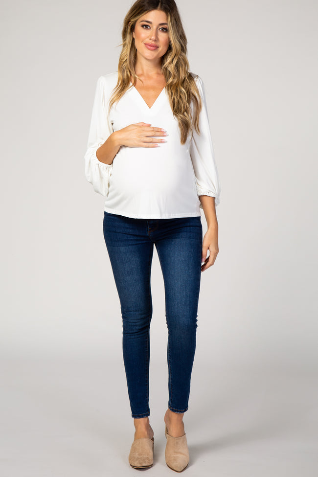 Ivory Long Puff Sleeve Maternity Top
