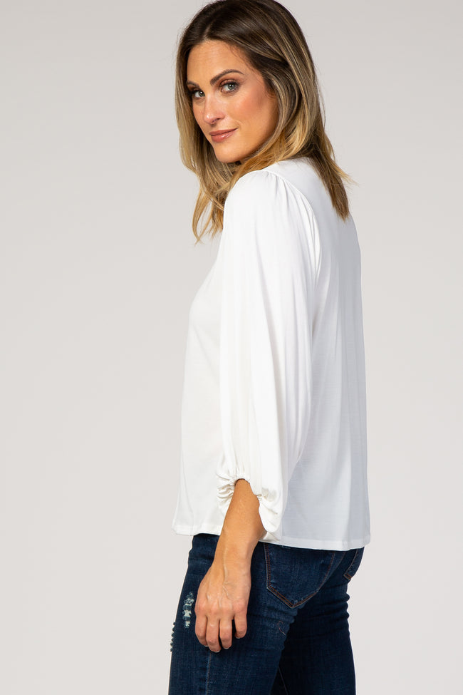 Ivory Long Puff Sleeve Top