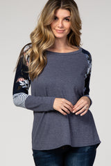 Navy Blue Floral Long Sleeve Maternity Knit Top