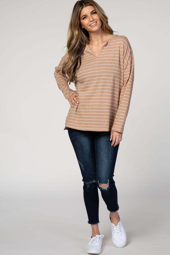 Taupe Striped Long Sleeve Top