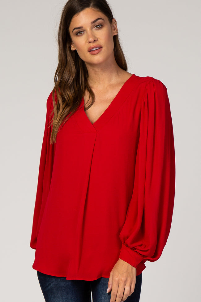 Red Puff Long Sleeve V-Neck Maternity Blouse