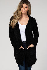 Black Chenille Open Front Cardigan