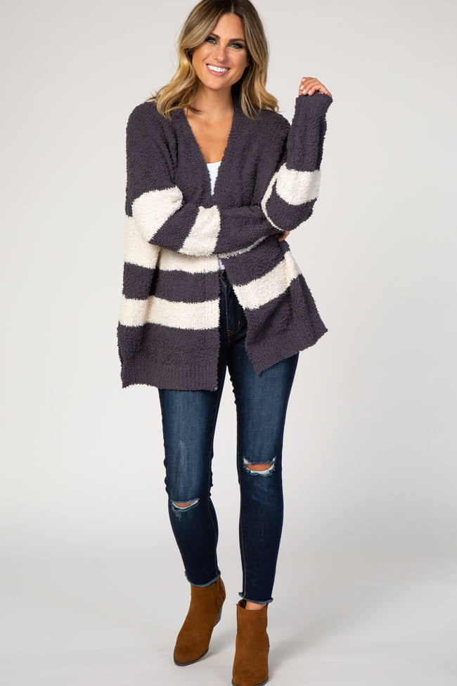 Charcoal Striped Knit Cardigan