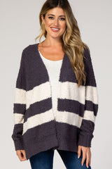 Charcoal Striped Knit Maternity Cardigan
