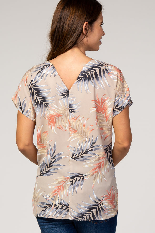 Taupe Palm Leaf Print V-Neck Hi-Low Maternity Top