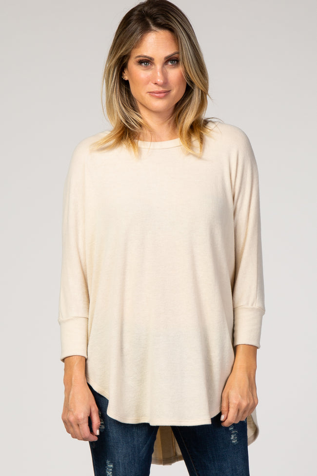 Cream Knit Hi-Low Maternity Top