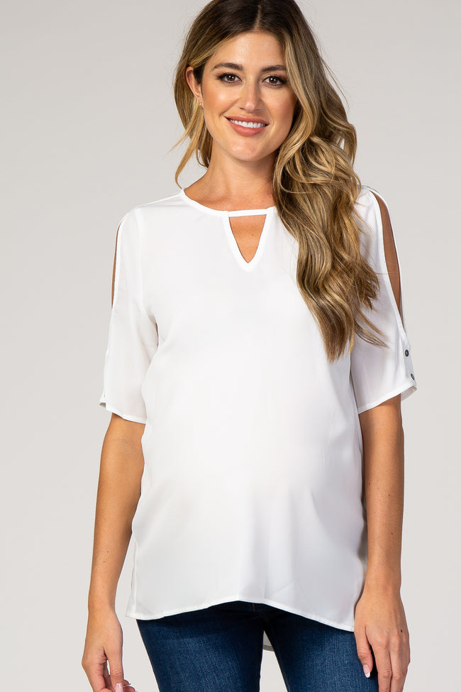 White Chiffon Open Shoulder V-Neck Hi-Low Maternity Top