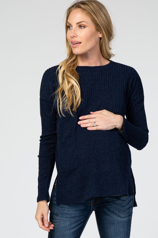 Navy Ribbed Pocket Front Maternity Top