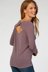 Plum Back Bow Cutout Long Sleeve Maternity Top