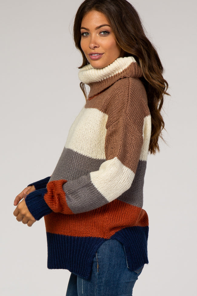 Mocha Striped Cowl Neck Maternity Sweater