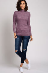Burgundy Striped Brushed Mock Neck Long Sleeve Top