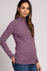 Burgundy Striped Brushed Mock Neck Long Sleeve Maternity Top