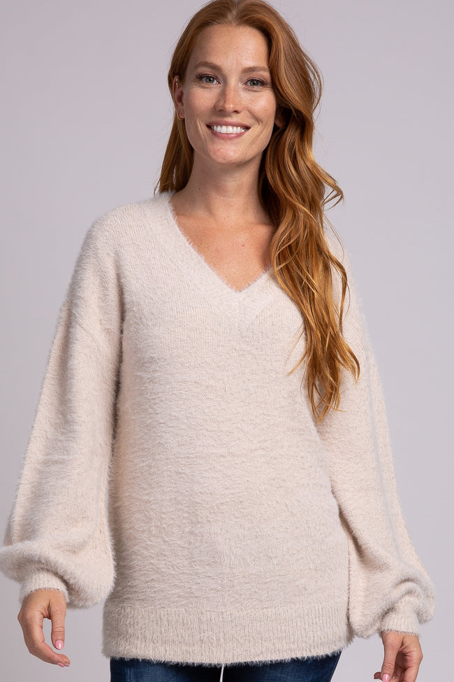 Taupe Fuzzy Balloon Sleeve V-Neck Maternity Sweater