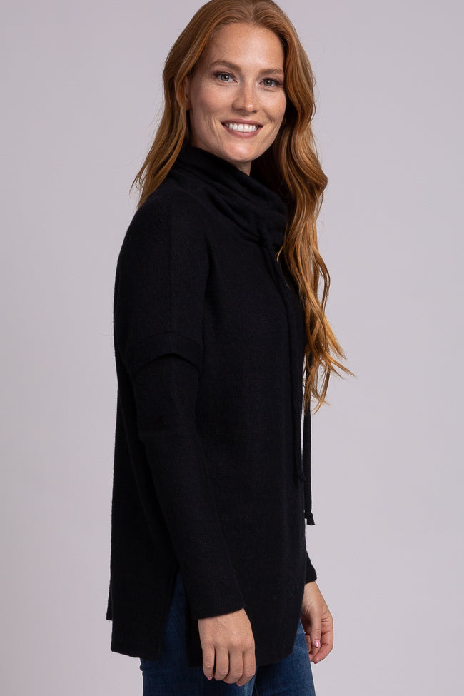 Black Cowl Neck Fuzzy Drawstring Long Sleeve Top