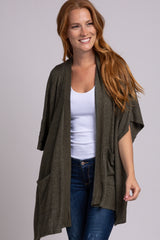 Olive Brushed Knit Maternity Cardigan