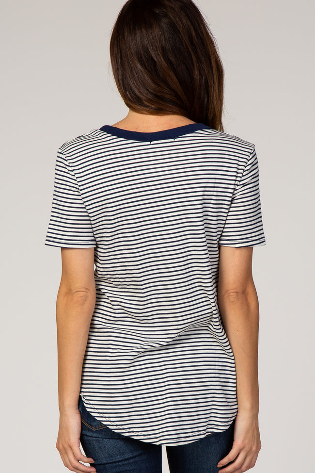 Navy Blue Striped Short Sleeve Top