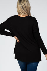 Black V-Neck Hi-Low Long Sleeve Maternity Top