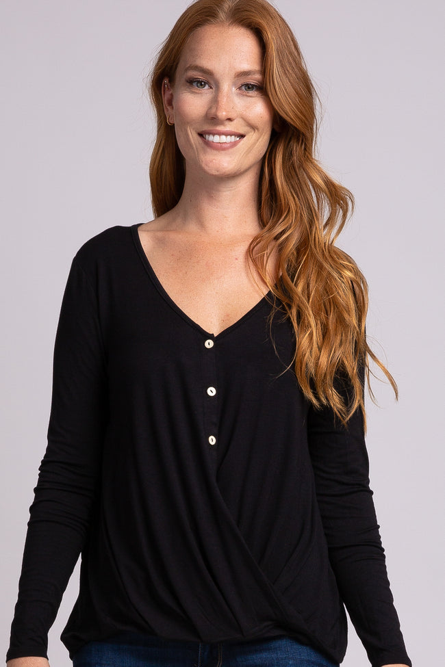 Black Front Button Twisted Hem Long Sleeve Maternity Top