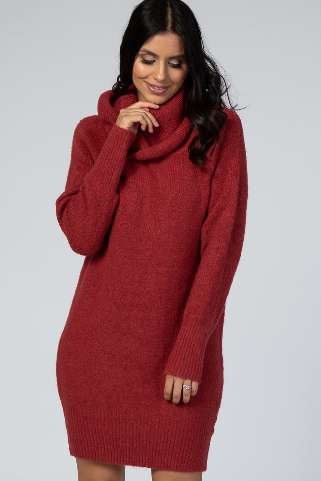 Rust Off The Shoulder Cowl Neck Knit Sweater Dress