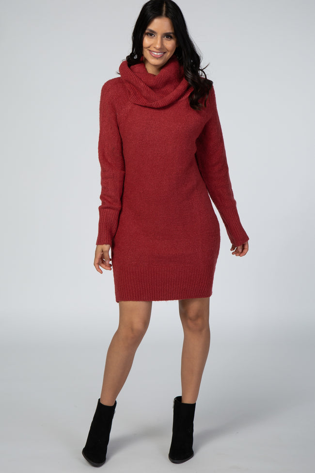 Rust Off The Shoulder Cowl Neck Knit Maternity Sweater Dress