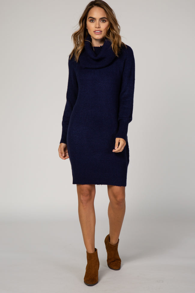 Navy Blue Off The Shoulder Cowl Neck Knit Maternity Sweater Dress