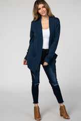 Navy Basic Knit Maternity Cardigan