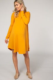 Mustard Mock Neck Maternity Dress