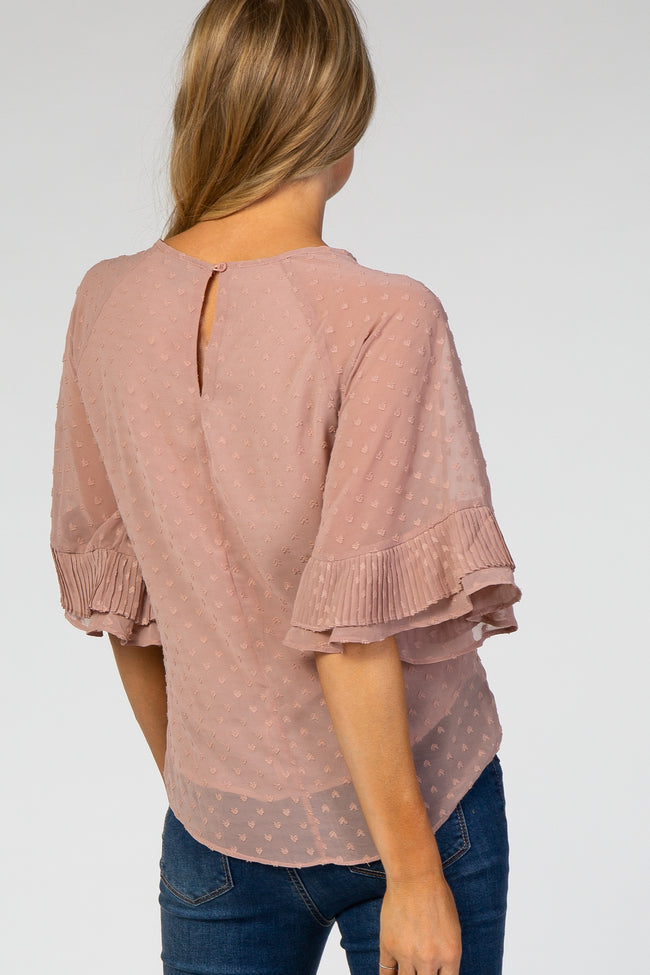 Light Pink Chiffon Swiss Dot Ruffle Sleeve Maternity Top