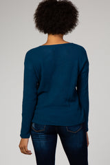 Dark Teal Long Sleeve Knit Top