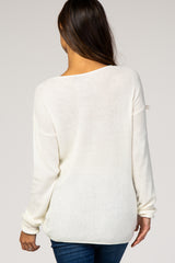 Ivory Long Sleeve Knit Maternity Top